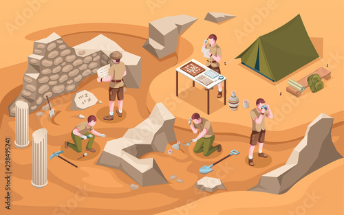 Archeology isometric excavation or archeologist at work Canvas Print