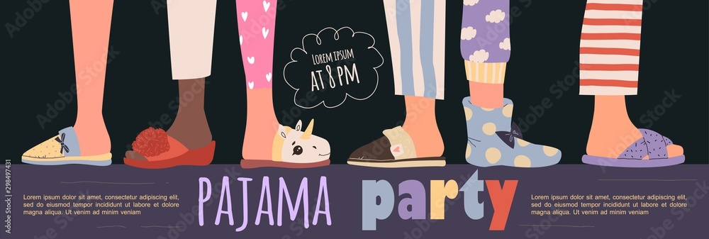 Fototapety, obrazy: Colored pajama party poster. Vector template Slumber party