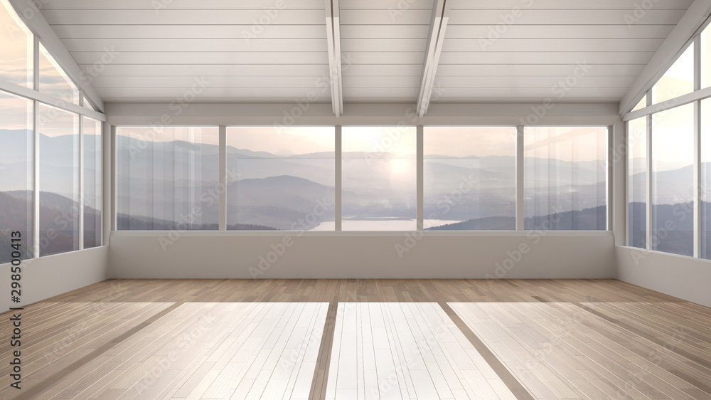 Fototapety, obrazy: Empty room interior design, open space with wooden roofs and parquet floor, big panoramic window, mountain panorama, modern architecture, morning light, mock-up with copy space