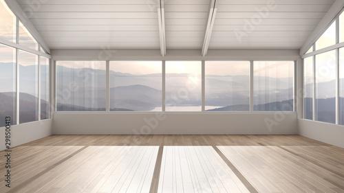 Stampa su Tela  Empty room interior design, open space with wooden roofs and parquet floor, big