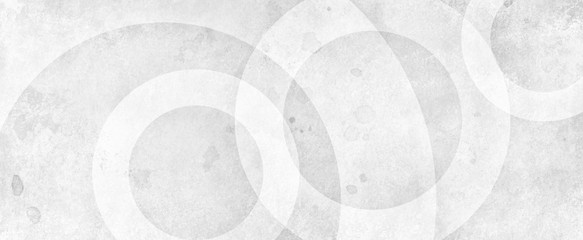 White abstract background with white circle rings in faded distressed vintage grunge texture design, old geometric pattern paper in modern art design