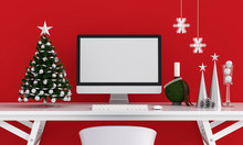 Computer Display For Mockup, Christmas Concept, 3D Rendering