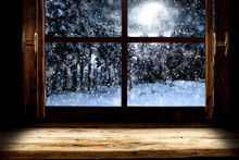 Desk Of Free Space And Winter Window