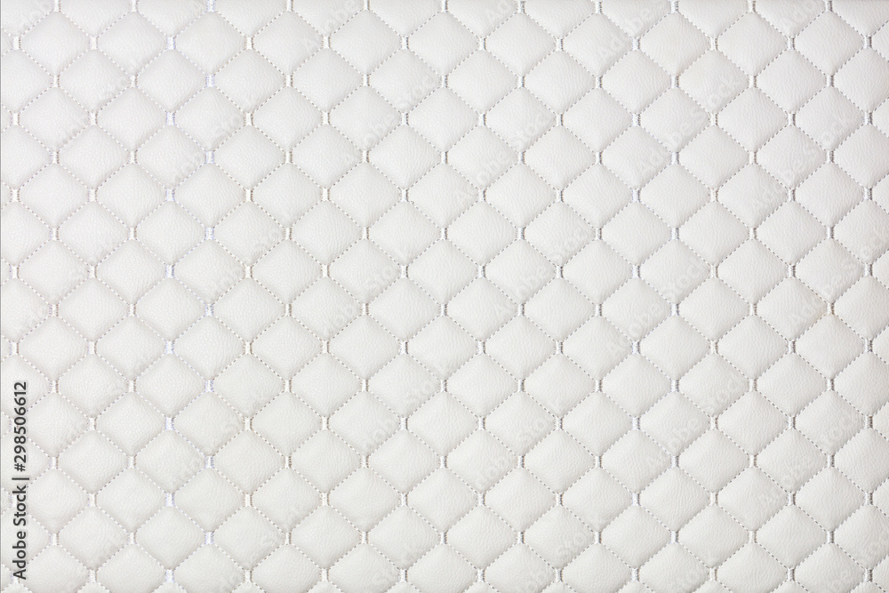Fototapety, obrazy: White furniture leather, background and texture of stitched with threads.