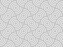 Gray And White Intersecting Repeating Circles Pattern. Japanese Style Circles Seamless Background. Modern Spiral Abstract Geometric Wavy Pattern Tiles. Endless Repeated Texture. Vector Illustration.
