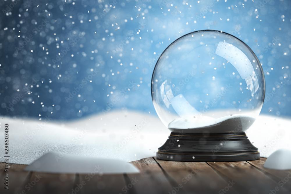 Fototapeta Empty snow globe Christmas background
