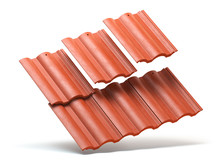 Red Roof Tiles Isolated On Whi...