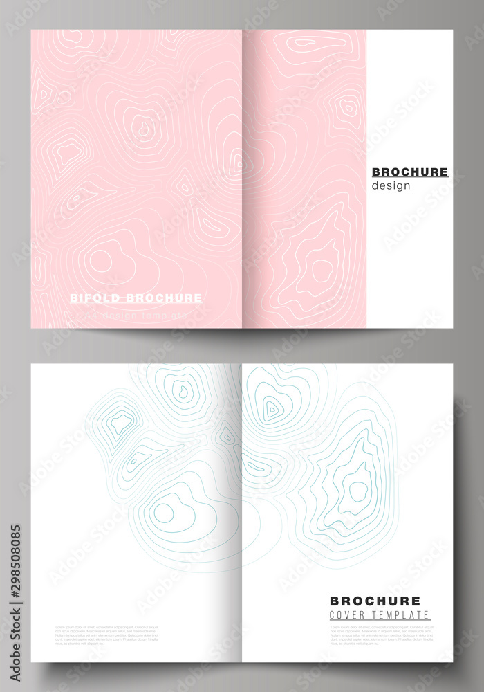 Fototapeta The vector layout of two A4 format modern cover mockups design templates for bifold brochure, magazine, flyer, booklet, annual report. Topographic contour map, abstract monochrome background.