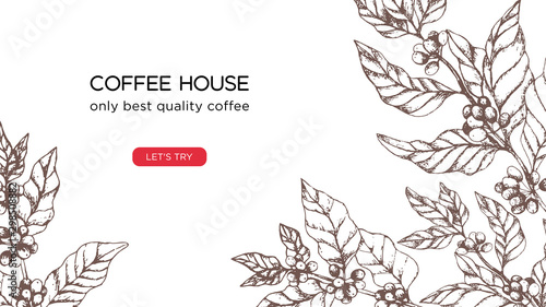 Photo Vector template for coffee business, coffee house website screen