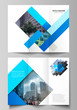 The minimal vector illustration of editable layouts. Modern creative covers design templates for trifold brochure or flyer. Abstract geometric pattern creative modern blue background with rectangles.