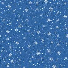 Snowflakes Seamless Pattern. C...