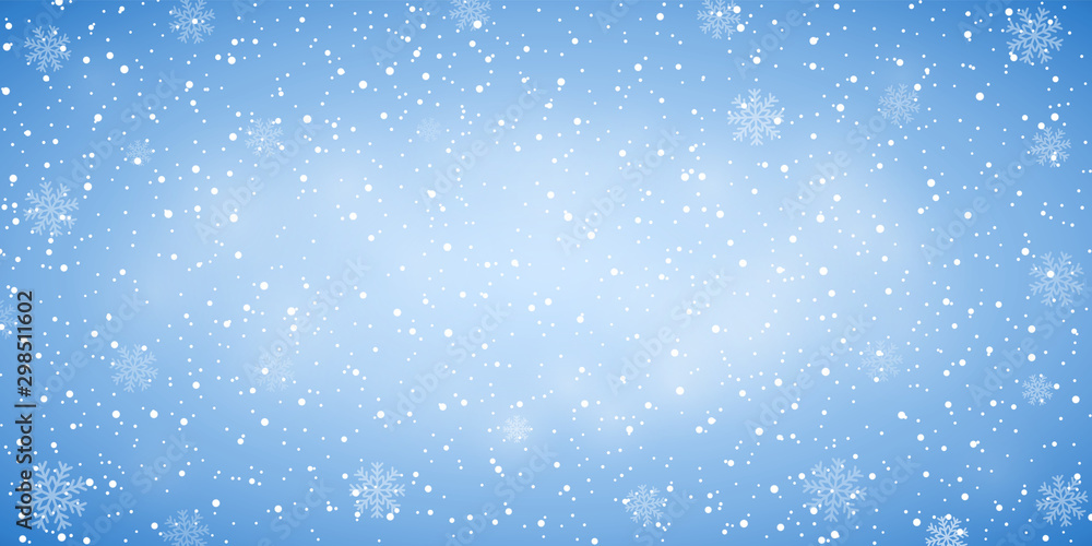 Fototapety, obrazy: Snow blue background. Christmas snowy winter design. White falling snowflakes, abstract landscape. Cold weather effect. Magic nature fantasy snowfall texture decoration Vector illustration