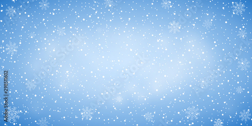 Poster Wall Decor With Your Own Photos Snow blue background. Christmas snowy winter design. White falling snowflakes, abstract landscape. Cold weather effect. Magic nature fantasy snowfall texture decoration Vector illustration