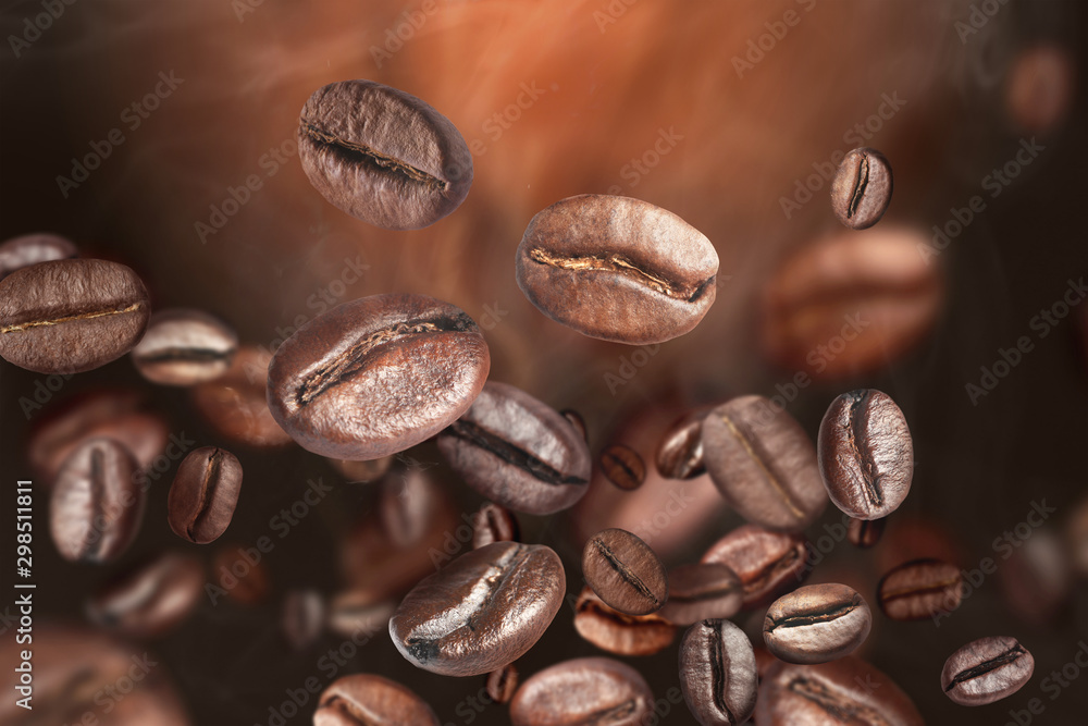 Fototapety, obrazy: Roasted coffee beans on grey background, closeup