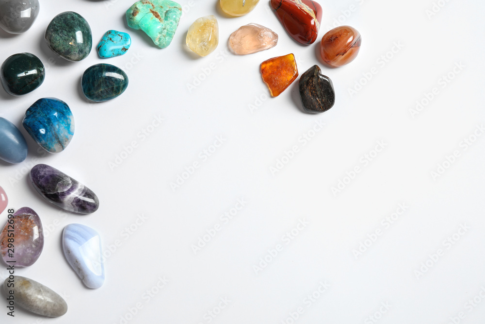 Fototapety, obrazy: Different beautiful gemstones on white background, top view