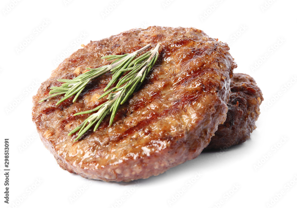 Fototapeta Grilled meat cutlets for burger isolated on white