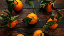 Mandarins Tangerines With Gree...