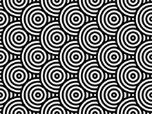 Black And White Overlapping Repeating Circles Background. Japanese Style Circles Seamless Pattern. Endless Repeated Texture. Modern Spiral Abstract Geometric Wavy Pattern Tiles. Vector Illustration.