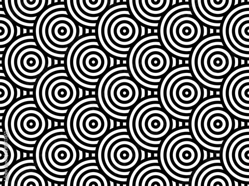 Türaufkleber Künstlich Black and white overlapping repeating circles background. Japanese style circles seamless pattern. Endless repeated texture. Modern spiral abstract geometric wavy pattern tiles. Vector illustration.