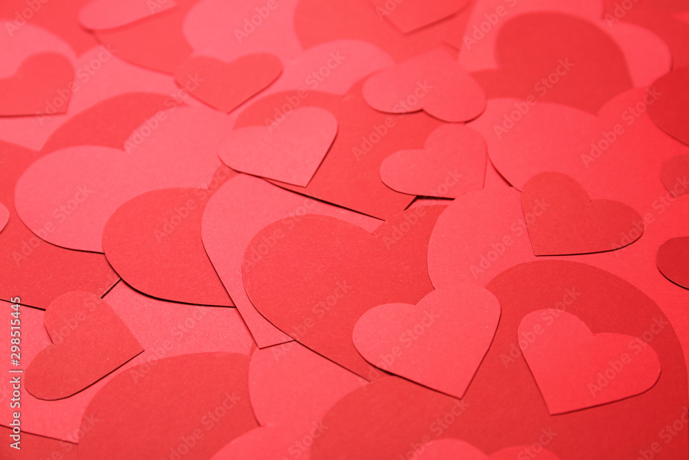 Fototapety, obrazy: Beautiful red paper hearts as background, closeup