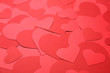 Beautiful red paper hearts as background, closeup