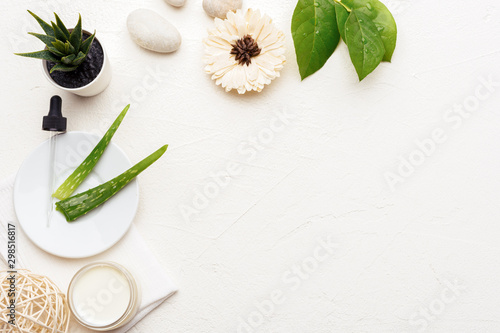 Fototapeta Fresh and natural aloe vera cosmetics background with emty space. Handmade skin care products. Facial treatment preparation and skin refreshing cream background.  flat lay composition obraz na płótnie