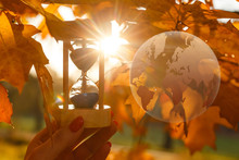 Green Glass Globe In Autumn