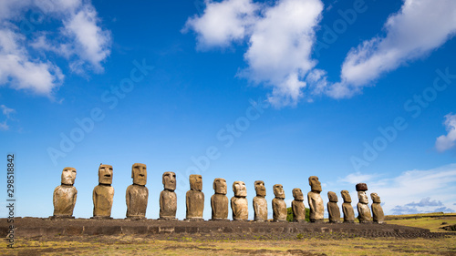 The moais stone platform of Ahu Tongariki on the south coast of Easter Island Canvas Print