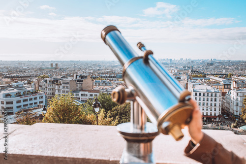 View of the panorama of Paris from the observation deck of the Sacre Coeur Tablou Canvas