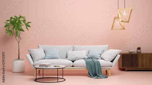 Obraz Interior of modern living room 3D rendering - fototapety do salonu