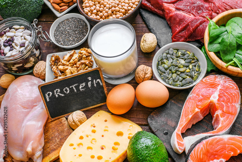 Fototapeta selection food sources of protein. healthy diet eating concept obraz