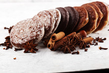 Typical German Gingerbreads Such As Lebkuchen And Aachener Printen On Rustic