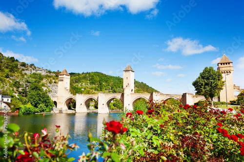 Staande foto Oude gebouw Valentre bridge in Cahor over red flowers, France