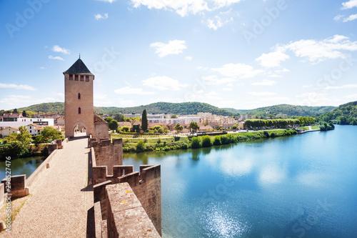 Autocollant pour porte Con. Antique Lot river, Cahor town from Valentre bridge France