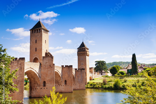 Valentre towers and bridge in Cahor on Lot river