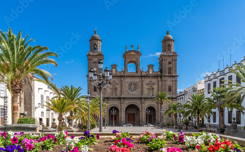 Poster de jardin Lieu de culte Landscape with Cathedral Santa Ana Vegueta in Las Palmas, Gran Canaria, Canary Islands, Spain