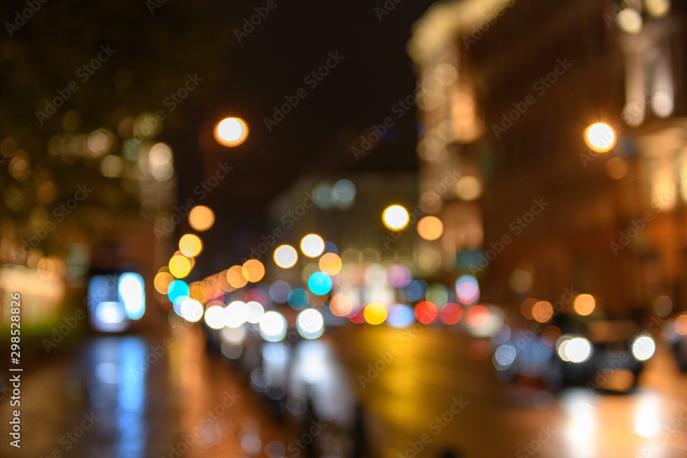 Fototapety, obrazy: View of traffic in city street, night scape, blured bokeh background