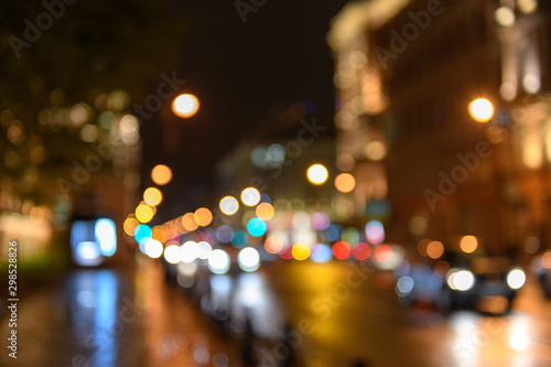 mata magnetyczna View of traffic in city street, night scape, blured bokeh background