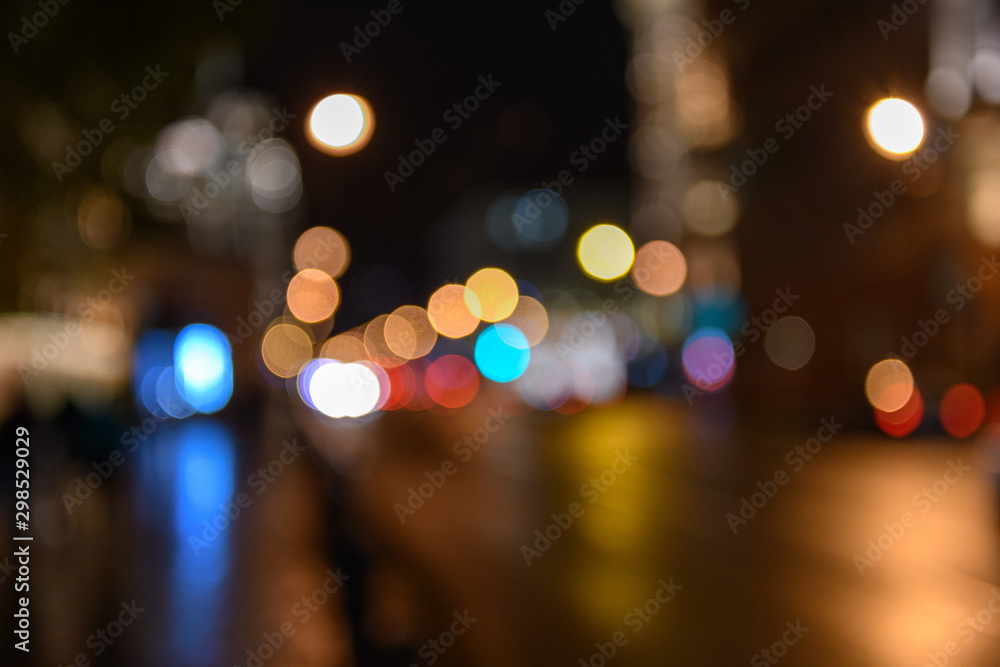 Fototapety, obrazy:  View of traffic in city street blurred bokeh background, night scape