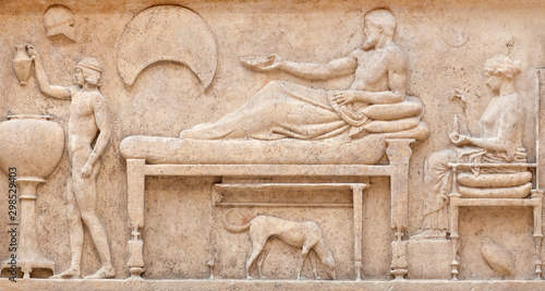 Bas-relief on ancient Greek Thasos funerary stele, Greece Canvas Print