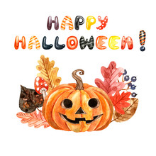 Watercolor Halloween Card Or P...