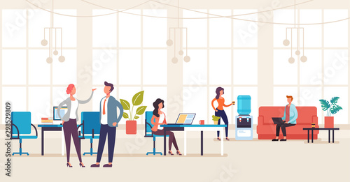 Obraz People office workers characters talking and working. Office life interior concept. Vector flat graphic design illustration - fototapety do salonu
