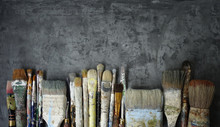 Row Of Old Artist Paintbrushes...