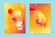 Red Fluid Brochure. Orange Vector Hipster