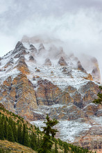 Mount Huber Covered By Snow And Clouds.Yoho National Park.British Columbia.Canada
