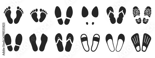 Photo Set footprints and shoeprints icons - stock vector
