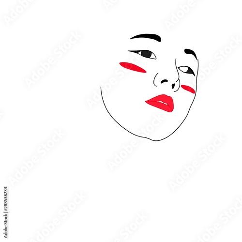 illustrazione viso ragazza cinese trucco minimale Canvas Print