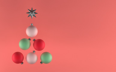 3D Illustration, Christmas tree balls, soft colors, greetings cards