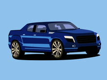 Pickup Blue Realistic Vector Illustration Isolated