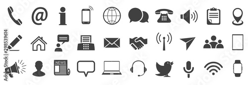 Set grey contact icons, communication signs - stock vector
